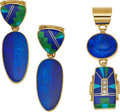 Jewelry, A SUITE OF DIAMOND, MULTI-STONE, GOLD JEWELRY, CHEE. The pendant and earrings feature inlaid opal, turquoise, gaspeite and l... (Total: 2 Items)