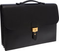 Luxury Accessories:Bags, Hermes 40cm Black Calf Box Leather Sac a Depeches Triple Gussett Briefcase with Gold Hardware. ...