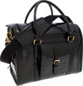 Luxury Accessories:Travel/Trunks, Ralph Lauren Shiny Black Crocodile Dog Carrier Bag . ...