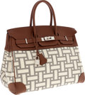 Luxury Accessories:Bags, Hermes 35cm Buffalo Leather & Mosaic Canvas Birkin Bag withPalladium Hardware. ...
