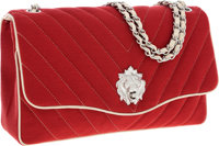 Chanel Red Chevron Quilted Fabric Lion's Head Jumbo Single Flap Bag with Burnished Silver Hardware