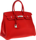 Luxury Accessories:Bags, Hermes 35cm Rouge Casaque Clemence Leather Birkin Bag withPalladium Hardware. ...