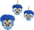 Jewelry, A SUITE OF DIAMOND, ENAMEL, GOLD JEWELRY. The 'Pansy' suite includes a pendant-brooch and matching pair of earrings featurin... (Total: 2 Items)