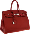 Luxury Accessories:Bags, Hermes 35cm Brick Fjord Leather Birkin Bag with Palladium Hardware....