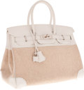 Luxury Accessories:Bags, Hermes 35cm White Swift Leather & Toile Birkin Bag withPalladium Hardware. ...