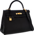 Luxury Accessories:Bags, Hermes 32cm Black Togo Leather Retourne Kelly Bag with Gold Hardware. ...