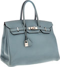 Luxury Accessories:Bags, Hermes 35cm Ciel Clemence Leather Birkin Bag with PalladiumHardware. ...