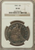 Seated Dollars: , 1842 $1 XF45 NGC. NGC Census: (74/326). PCGS Population (128/296).Mintage: 184,618. Numismedia Wsl. Price for problem free...