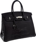 Luxury Accessories:Bags, Hermes 35cm Shiny Black Porosus Crocodile Birkin Bag with PalladiumHardware. ...