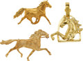 Estate Jewelry:Lots, A GROUP OF GOLD HORSE JEWELRY. The lot includes a 14k gold singlehorse brooch (1-7/8 inches x 1-1/8 inches), a 14k gold...(Total: 3 Items)