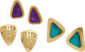 Estate Jewelry:Earrings, THREE PAIRS OF DIAMOND, MULTI-STONE, GOLD EARRINGS. The lotincludes three pairs of 14k gold earrings: one with sugilite m...(Total: 3 Items)