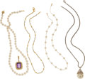Estate Jewelry:Lots, A GROUP OF AMETHYST, CULTURED PEARL, STERLING SILVERPENDANT-NECKLACES. The lot includes an 18k gold pendant featuringan em... (Total: 5 Items)