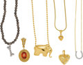 Estate Jewelry:Lots, A GROUP OF DIAMOND, QUARTZ, PYRITE, GOLD JEWELRY. The lot includesa heart-shaped pendant accented by full-cut diamonds set ...(Total: 6 Items)