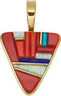 Jewelry, A MULTI-STONE, GOLD PENDANT. The pendant features coral, turquoise, opal and lapis lazuli, set in 14k gold. Gross weight 42....
