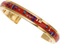 Estate Jewelry:Bracelets, A MULTI-STONE, GOLD BRACELET. The bracelet features inlaid coral,sugilite and opal, set in 14k gold. Gross weight 40.12 gra...