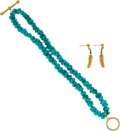 Jewelry, A GROUP OF TURQUOISE, GOLD JEWELRY. The lot includes a double strand turquoise bead bracelet with a 14k gold toggle clasp, a... (Total: 2 Items)