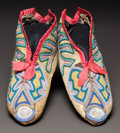 American Indian Art:Beadwork and Quillwork, A PAIR OF SOUTHEAST BEADED HIDE MOCCASINS. c. 1830...