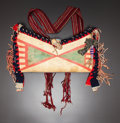 American Indian Art:Beadwork and Quillwork, A CROW PAINTED PARFLECHE MEDICINE CASE. c. 1880...