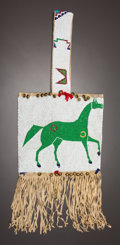 American Indian Art:Beadwork and Quillwork, A SIOUX PICTORIAL BEADED AND FRINGED HIDE BAG. c. 1890...