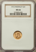 Commemorative Gold, 1916 G$1 McKinley Gold Dollar MS66 NGC....