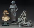 Bronze:European, A BRONZED POTTERY STANDING FIGURE, A BRONZE SEATED FIGURE ANDBRONZE BUST OF NAPOLEON. 20th century. Marks to bronze bust: ...(Total: 3 Items)