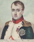 Works on Paper, A WATERCOLOR MINIATURE ON PAPER OF NAPOLEON. Circa 1810. 2-1/2 inches high x 2 inches wide (6.4 x 5.1 cm). PROVENANCE:. Ch...