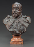 Sculpture, A PATINATED BRONZE BUST OF KING EDWARD VII OF THE UNITED KINGDOM ON A MARBLE SOCLE. 20th century. Marks: H. Müller...