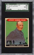 Football Cards:Singles (Pre-1950), 1933 Sport Kings Gum Knute Rockne #35 SGC 92 NM/MT+ 8.5 - PopThree, One Higher! ...