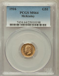 Commemorative Gold: , 1916 G$1 McKinley MS64 PCGS. PCGS Population (1390/1669). NGCCensus: (764/874). Mintage: 9,977. Numismedia Wsl. Price for ...