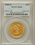 Liberty Eagles: , 1858-O $10 XF45 PCGS. PCGS Population (36/78). NGC Census:(35/118). Mintage: 20,000. Numismedia Wsl. Price for problem fre...
