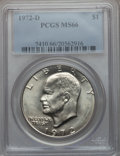 Eisenhower Dollars: , 1972-D $1 MS66 PCGS. PCGS Population (372/6). NGC Census: (305/4). Mintage: 92,548,512. Numismedia Wsl. Price for problem f...