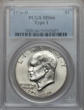 Eisenhower Dollars: , 1976-D $1 Type One MS66 PCGS. PCGS Population (262/3). NGC Census:(244/7). Mintage: 21,048,710. Numismedia Wsl. Price for ...