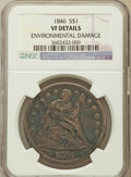 Seated Dollars, 1846 $1 -- Environmental Damage -- NGC Details. VF. NGC Census:(4/408). PCGS Population (8/549). Mintage: 110,600. Numisme...