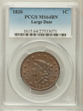 Large Cents, 1820 1C Large Date MS64 Brown PCGS. N-13, R.1....