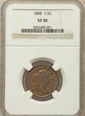 1808 1/2 C VF30 NGC. NGC Census: (3/58). PCGS Population (12/81). Mintage: 400,000. Numismedia Wsl. Price for problem fr...
