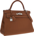 Luxury Accessories:Bags, Hermes 32cm Gold Clemence Leather Retourne Kelly Bag with Palladium Hardware. ...