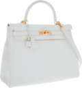 Luxury Accessories:Bags, Hermes 35cm White Clemence Leather Retourne Kelly Bag with GoldHardware. ...