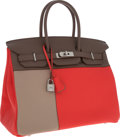 Luxury Accessories:Bags, Hermes Limited Edition Tri-color 35cm Rose Jaipur Clemence Leather, Etoupe & Gris Tourtourelle Swift Leather Birkin Bag with B...