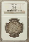 Bust Half Dollars, 1819 50C O-111, R.2 XF45 NGC. NGC Census: (57/315). PCGS Population(63/251). Mintage: 2,208,000. Numismedia Wsl. Price for...