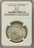 Bust Half Dollars, 1832 50C Small Letters XF45 NGC. O-115. NGC Census: (205/1533).PCGS Population (277/1402). Mintage: 4,797,000. Numismedia ...