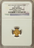 California Fractional Gold, 1872 50C Indian Round 50 Cents, -- Improperly Cleaned -- NGC Details. UNC. BG-1048, Low R.4. NGC Census: (0/11). PCGS P...
