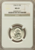 Washington Quarters: , 1936-D 25C MS63 NGC. NGC Census: (183/522). PCGS Population(302/1079). Mintage: 5,374,000. Numismedia Wsl. Price for probl...