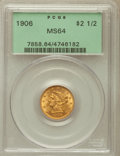 Liberty Quarter Eagles: , 1906 $2 1/2 MS64 PCGS. PCGS Population (1130/788). NGC Census:(1091/860). Mintage: 176,300. Numismedia Wsl. Price for prob...