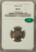 Barber Dimes: , 1905-S 10C MS64 NGC. CAC. NGC Census: (25/16). PCGS Population(56/31). Mintage: 6,855,199. Numismedia Wsl. Price for probl...
