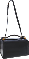 Luxury Accessories:Travel/Trunks, Hermes Black Calf Box Leather Travel Bag with Wooden Handle . ...