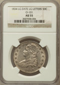 Bust Half Dollars, 1834 50C Large Date, Large Letters, O-101, R.1 AU55 NGC. NGCCensus: (293/1139). PCGS Population (173/388). Mintage: 6,412,...