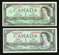 Canadian Currency: , BC-37bA-i $1 1954 Replacement. BC-45bA $1 1967 Replacement. ...(Total: 2 notes)