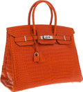 Luxury Accessories:Bags, Hermes 35cm Shiny Orange H Porosus Crocodile Birkin Bag withPalladium Hardware . ...