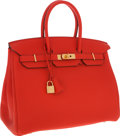 Luxury Accessories:Bags, Hermes 35cm Capucine Togo Leather Birkin Bag with Gold Hardware....