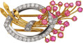 Jewelry, A RETRO DIAMOND, RUBY, PLATINUM, GOLD BROOCH. The brooch features full and single-cut diamonds weighing a total of approxima...